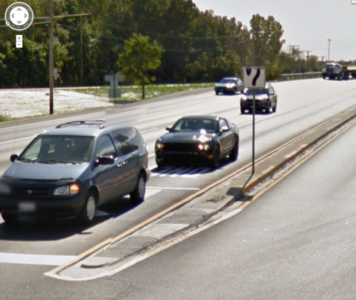 Me in my Mustang, caught on Google streetview.