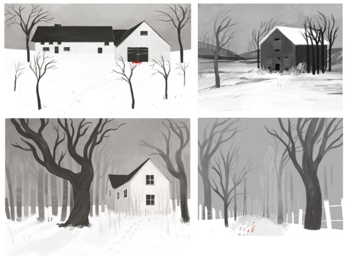 some spooky houses and trees and stuff.