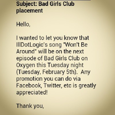 My song is gonna be on Bad Girls Club tomorrow at 8 on Oxygen!