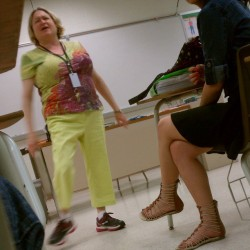 Please meet my swagged out Hr teacher Mrs. Schwartz… Everyday from here on out I will post one of her gangsta outfits… Stay tuned for monday :D #schwartz #thuglife #swag #hr #highschool #school #random #legs #lol #funny #spring #fresh #short #awesome #creative #daily #friday