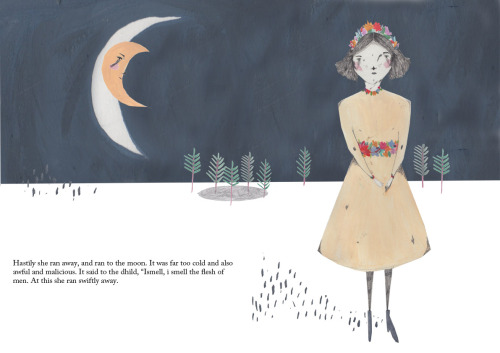 amyisla:  A double page spread for the story The seven ravens by the grimms brothers, more to follow.