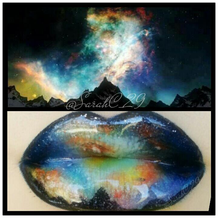 Aurora Borealis-inspired lips by Sarah Chambers! Have you ever seen the Northern Lights in person?