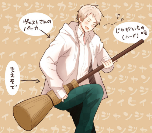 albilibertea:  New Awesome Prussia with a broom from 明日香☆ Yeah! He looks awesome with everything! XD I think I'll ship Prussia with a broom