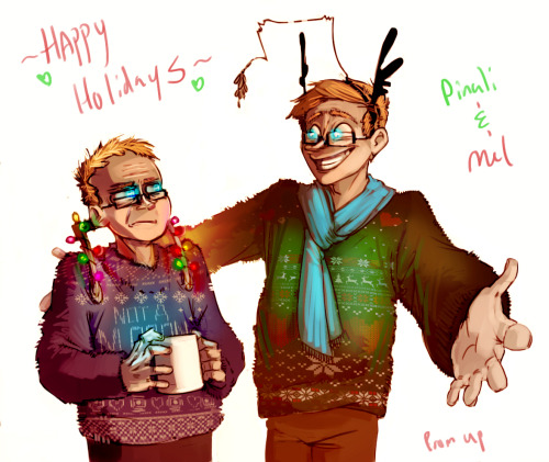 "upperstories:      ""There we are! All set for the holidays, sweaters n' all. Now. Was that so hard, Mr. Scrooge?"" ""….I hate you.""    There! Took me long enough, but I finally finished up Pinali's Portal Secret Santa. She asked for something involving her Wheatley and Miss Mel's Wheatley doing something cute and shippy, and/or something Christmas-related. So I dressed 'em up in silly Christmas sweaters. And antler headbands. And Christmas lights. And ooh is that mistletoe I spyyyyyy? Hope this meets your expectations Pinali, and sorry for being a few hours late! Merry Christmas to both you and Mel. ^^ [BONUS]: No Text and ANIMATED LIGHTS!     AHAHAHAAA UPPERS omfg so great, the lights on his handle AHAHA oh man he would HATE thatand clearly he does 'Not a moron' omg wow and mistletoe *~* so PERFECT thank you so much aaaah!! <3 merry Christmas dear uppers!"