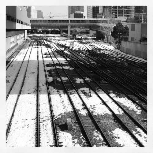 #train #rails #toronto #unionstation #Ontario #canada #winter #snow #black #white