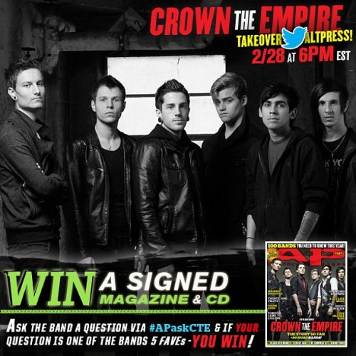 Twitter takeover today with @crowntheempire Think of some good questions and you could win! Tag all questions with #APaskCTE twitter.com/altpress #crowntheempire #altpress