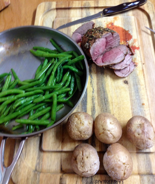 Green beans from our garden, venison from our land, potatoes from a nearby town. Yum.