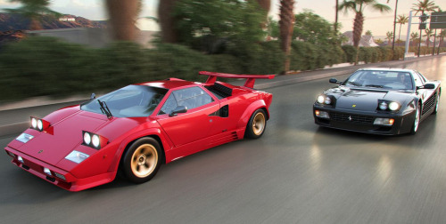 Danger Zone Starring: Lamborghini Countach and Ferrari 512TR (by Ben O'Bro)