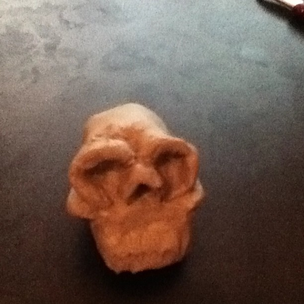 Small skull I tried to make out of clay. Not bad for teaching myself how to sculpt.