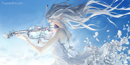 glass violin glass instrument violin violinist anime anime girl white hair white dress yuumei