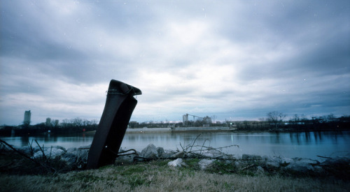 Pinhole: Generic River Scene on Flickr.Cumberland River, Nashville Zero Image 69, f235, Kodak Portra 160, about 8 seconds