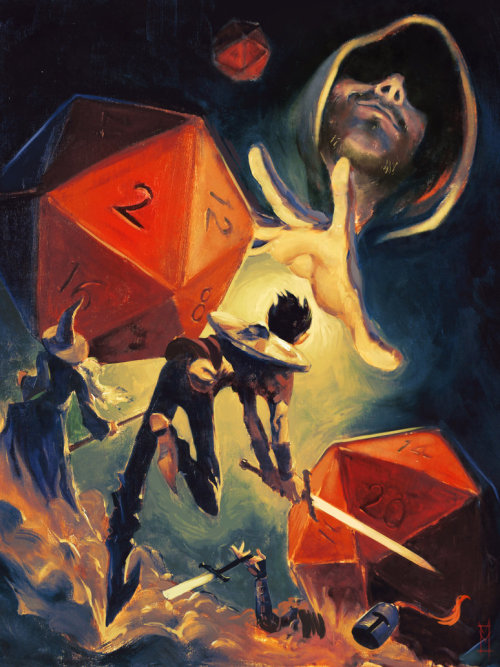 batdepression:  gelatinous-cube:  madmothmiko:   The Dungeon Master   If only.Things tend to be more like baby-sitting than benevolent destruction.  I've never gotten the notion of 'the DM is the players' enemy'. Most players seal their own doom with terrible decisions, anyway. But I love more to see them win. I'd rather have them come out victorious out of all the shit I throw at them.