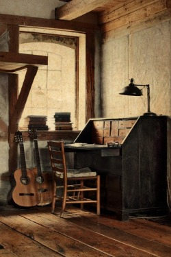 Writing Desk and Guitars | via Tumblr on We Heart It - http://weheartit.com/entry/62128368/via/racheldodol   Hearted from: http://inspiredtwentyfour7.tumblr.com/post/50916270602
