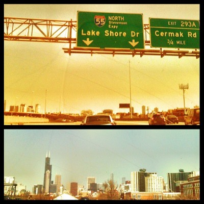 Driving on LSD. Finally back in Chi-town! (at Lake Shore Drive)