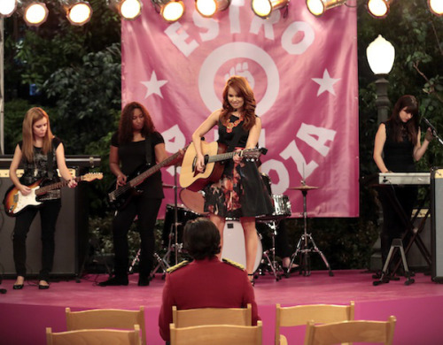"New still of Debby Ryan performing ""The Best Year"" from Jessie!!  ""'Why Do Foils Fall in Love?,"" airing Friday at 8:30/7:30c, Jessie decides to write Tony (played by Chris Galya) a song to mark their first anniversary as steadies. But when she comes to suspect that her beau forgot their special day, she ends up churning out an angry (Taylor Swiftian?) tune that ends up going viral via Emma's vlog."" (x)"