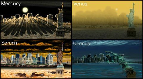 distant-traveller:  NYC as seen from different planets  Take a trip around the solar system and bring the entire city of New York with you in these captivating drawings showing how the atmospheres of other planets would interact with the iconic metropolitan skyline. The images were created by artist Nickolay Lamm of StorageFront.com, who employed the help of astrobiologist Marilyn Browning Vogel to get the details right. Lamm said the idea came to him while looking at pictures that NASA's Curiosity rover took of Mount Sharp.  Image credit: Nickolay Lamm