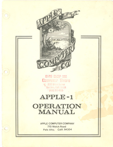 meganq:  The original Apple operation manual for the original Apple computer. The Apple I launched in 1976 and was priced at $666.66. Only 200 units were ultimately produced, but scarcity breeds demand — a working Apple I sold at auction in November 2012 for $650,000.