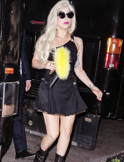 ladyxgaga:  Photos of Gaga leaving the Versus Versace fashion show last night.