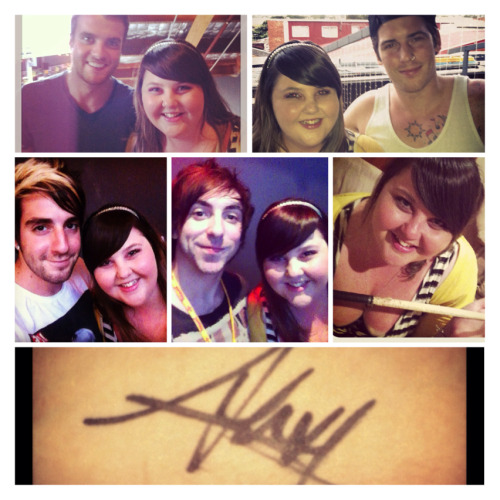 "Last night, I was very lucky to have a meet and greet with All Time Low :) it was amazing, and I couldn't be happier. Jack took our photo and demanded to choose the Instagram filter and wrote the caption ""I love butts"" hahaha. Alex signed my wrist, just because :D  I was right up the front in the pit, it was just perfect. They played Therapy and I was a tad emotional haha I also manage to catch Rian's drumstick! The first time I've ever caught anything at a gig. Still on such an adrenaline rush, it was amazing :)"