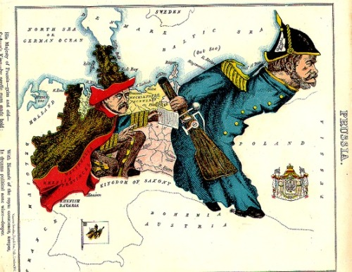 "Satirical map of Prussia by William Harvey (alias Aleph). From Aleph's 1869 ""Geographical Fun, or Humorous Outlines of Various Countries"" published in London by Hodder and Stoughton."