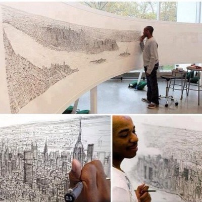 After only a 20 minute helicopter ride over #NYC , autistic artist, Stephen Wiltshire was able to draw the NY skyline,  in pen, just from memory. #art #nyc #talent #autism #youcandoit #humansareamazing #peace #beauty #love #StephenWiltshire #TeamTime™