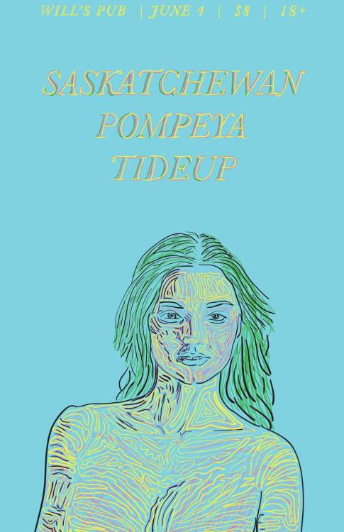 The poster for our show on June 4 with Pompeya & Tideup at Will's Pub in Orlando! Made by Thousand Percent.