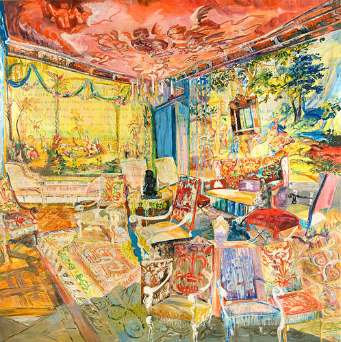 "darksilenceinsuburbia:  Jane Irish.The Little Man/Multicolored Parlor, 2009. Oil on Tyvec, with raised archival foam letters, 168 x 168""."
