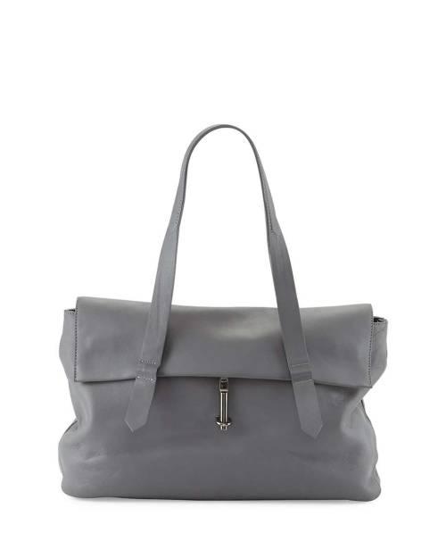 Jack Leather Satchel Bag, Steel Gray