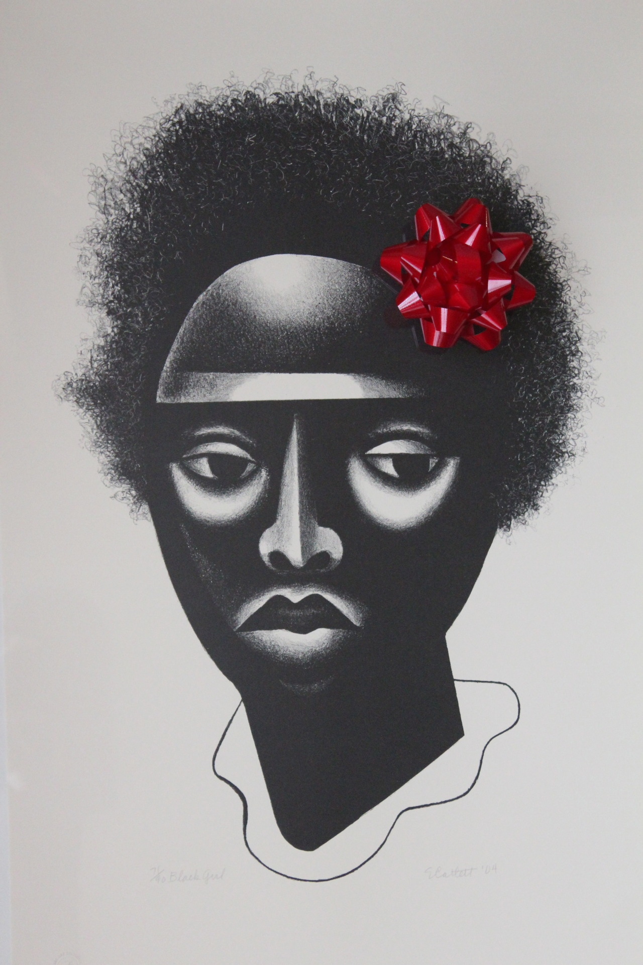 "Embellished ""Black Girl"" (2004) by Elizabeth Catlett"