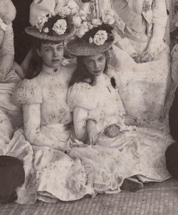 Duchess Cecilie of Mecklenburg Schwerin, later Crown princess of Prussia (right) and Princess Olga of Hanover at the wedding of her sister, Duchess Alexandrine with Prince Christian of Denmark, future King Christian X. Cannes, 1898