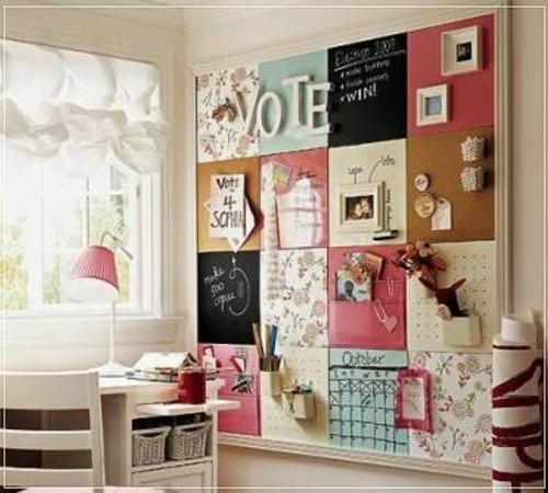 myidealhome:  pinboard made of cork and chalkboard squares (via pinterest)