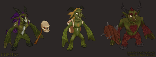Goblins I textured for school! The models are made by Maïté - check her out here: http://syrahde.tumblr.com/ Textures are made by me!