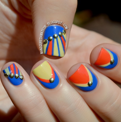 themanicuredamateur:  Summer Striping and Studded Ruffian Nail Art.Steps on the blog.