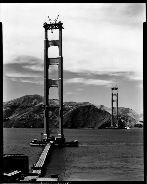 Construction of the Golden Gate Bridge. 1933-37. more photos.