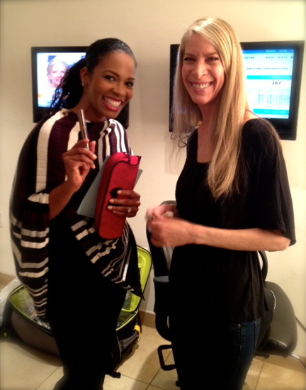 Behind-the-scenes at HSN HQ with beautiful Host Tamara Hooks! She LOVED our new Touch-Up to Go Concealer/Foundation Pens. Here's a link to showtimes + lineup: http://on.fb.me/Str60P