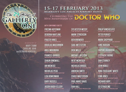To everyone at Gallifrey One this year, have a fantastic time. We'll be reblogging your tagged posts from Gallifrey One all weekend.