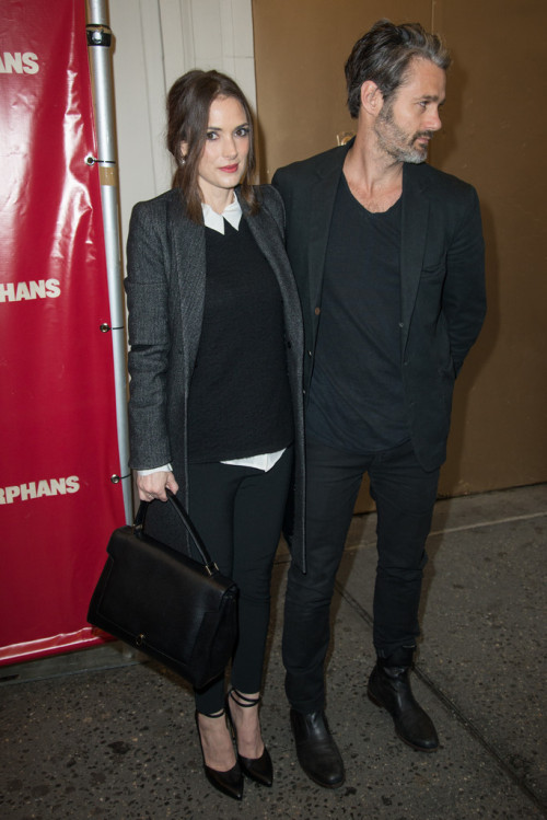 winonaforever:   Winona Ryder and boyfriend Scott - April 18, 2013  Orphans Opening Night in NYC