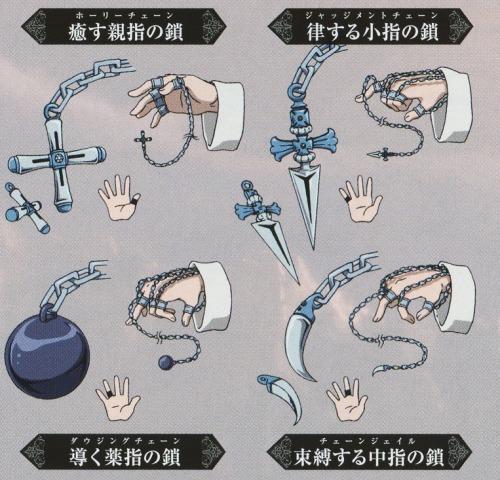 anime-variety:  Hunter x Hunter 2011: Kurapika Conjured Chain 1.Holy Chain (The Healing Thumb Chain) 2.Judgment Chain (The Arbiter Little Finger Chain) 3.Dowsing Chain (The Guiding Ring Finger Chain) 4.Chain Jail (The Restraining Middle Finger Chain)