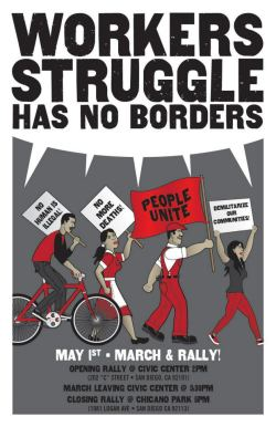 workers struggle has no borders mayday poster