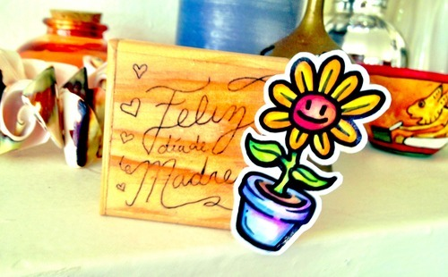 mother's day gift with flower sticker