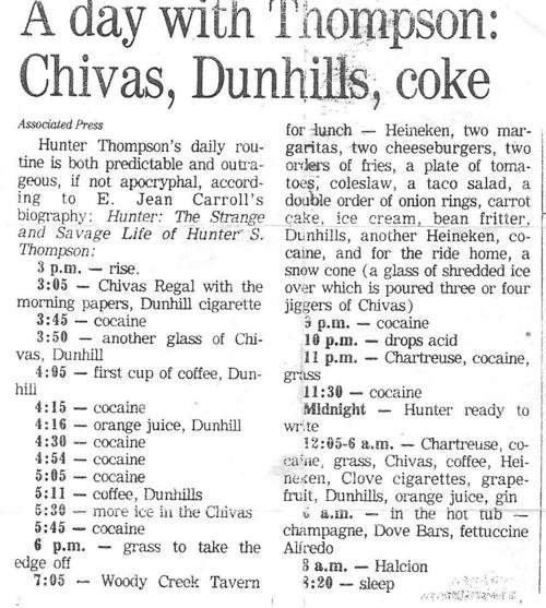 explore-blog:  Hunter S. Thompson's daily routine, a fine addition to other famous writers' routines. (↬ Reddit)