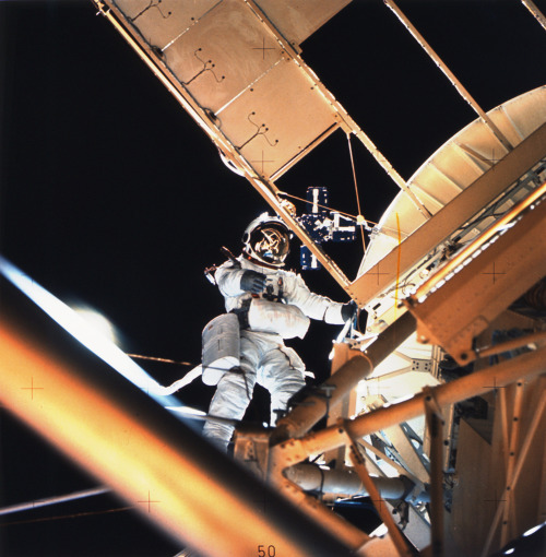 "From How Space Stations Work: On May 14, 1973, NASA launched its first space station — Skylab 1 — into orbit. During the launch, the station was damaged. A critical meteoroid shield and one of the station's two main solar panels were ripped off and the other solar panel was not fully stretched out. That meant that Skylab had little electrical power and the internal temperature rose to 126 degrees Fahrenheit (52 degrees Celsius). The first crew, Skylab2, was launched 10 days later to fix the ailing station. The crew consisted of Commander Charles ""Pete"" Conrad, Paul Weitz and Joseph Kerwin. The Skylab 2 astronauts stretched out the remaining solar panel and set up an umbrella-like sunshade to cool the station. With the station repaired, the astronauts spent 28 days in space conducting scientific and biomedical research. Modified from the third stage of a Saturn V moon rocket, Skylab had the following parts: Orbital workshop - living and working quarters for the crew Airlock module - allowed access to the outside of the station Multiple docking adapter - allowed more than one Apollo spacecraft to dock to the station at once (However, there were never any overlapping crews in the station.) Apollo telescope mount - contained telescopes for observing the sun, stars and Earth (Keep in mind that the Hubble Space Telescope had not been built yet.) Apollo spacecraft - command and service module for transporting the crew to and from the Earth's surface Skylab was manned by two additional crews. Skylab 3 consisted of Commander Alan Bean and astronauts Jack Lousma and Owen Garriot. They spent 59 days in space. The final crew, Skylab 4, consisted of Commander Gerald Carr and astronauts William Pogue and Edward Gibson. This crew spent 84 days in orbit, conducted experiments and photographed comet Kohoutek. Skylab was never meant to be a permanent home in space, but rather a workshop where the United States could test the effects of long-duration space flights (that is, greater than the two weeks required to go to the moon) on the human body. When the flight of the third crew was finished, Skylab was abandoned. Skylab remained aloft until intense solar flare activity caused its orbit to decay sooner than expected. Skylab re-entered the Earth's atmosphere and burned over Australia in 1979. Learn more about Skylab over at NASA's mission hub. Image credit: NASA."