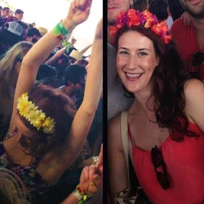 Rocking my floral headbands by Julichka at Coachella!