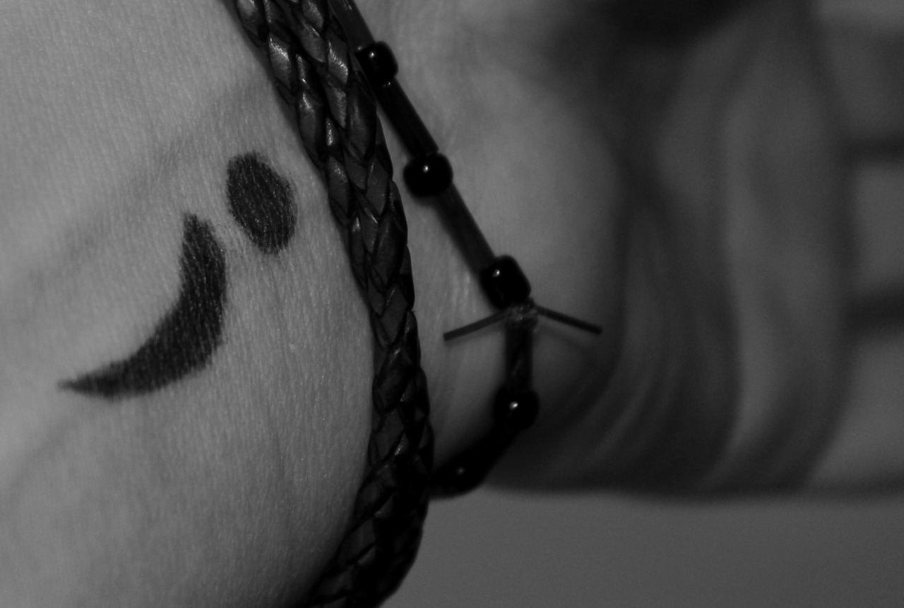 stereoheartofheaven:  On April 16, 2013 everyone who self harm, is suicidal, depressed, has anxiety, in unhappy, going trough a broken heart, just lost a loved one, etc. Draw a semicolon on your wrist.A semicolon represents a sentence the author could have ended, but chose not to. The author is you and the sentence is your life