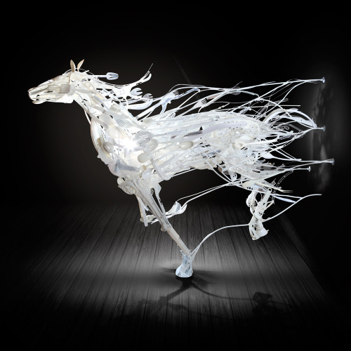 odditiesoflife:  Recycled Animal Art Driven by a combination of her passion for fitting odd shapes together and a sympathy toward discarded objects, Japanese artist, Sayaka Ganz creates animals from thrift store plastics. She only select objects that have been used and discarded. She believes the best way for artists to help reduce waste is to show how beautiful the materials can be and what can be done with them.