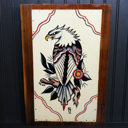 athenaelectricco:  Mounted with copper nails to salvaged heart pine from a 1880's era home in Reynolds GA. #dehilltattoo #traditionaltattooflash #traditional #tattooing #searchlighttattoo  A thing of beauty!