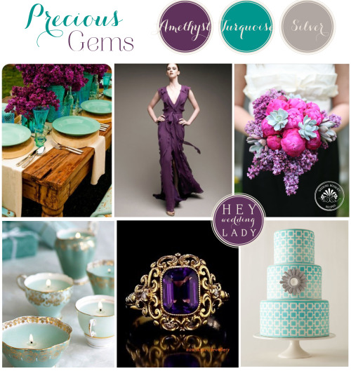 I can't wait to see your inspiration boards for Mindy Kaling's gorgeous Met Ball ensemble - here's mine! The gorgeous colors made me think of jewels and I love that the rich purple and bright teal can be used to read classic or punched with with modern shapes to read up to the minute! Photo Credits: Centerpiece - Unknown, via Pinterest; Gown - Carolina Herrara; Bouquet by Fleurology via Wedding Chicks; Teacups via WeddingBelle; Amethyst Ring via MinMit Jewelry; Cake via Unknown - Pinterest