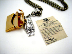 etsygoodies:  (via Owl Post Necklace with Hogwarts Acceptance by WolfbirdStudios)  WANT!!!!!