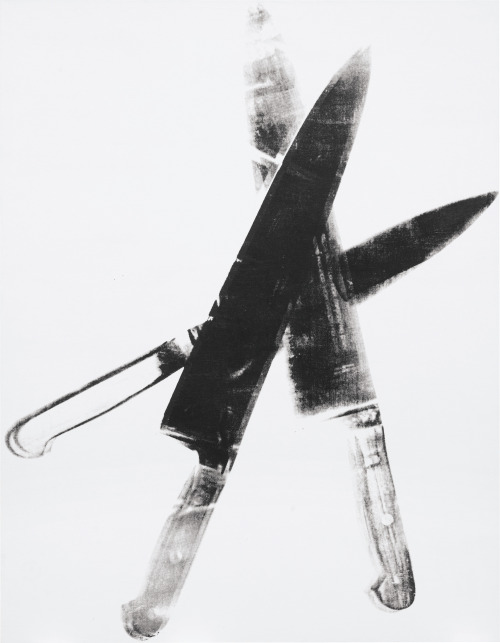 "ANDY WARHOL | Knives, 1981-1982 | synthetic polymer paint and silkscreen inks on canvas Sold for $2,008,900 at the Contemporary Art and Design sale, 7 March 2013, New York. ""Instead he chooses the common object considered by most of us as nothing special elevating it to art. Kitchen knives never looked more interesting or beautiful."" - Vincent Freemont (Vincent Fremont, quoted in exhibition catalogue, Cast a Cold Eye: The Late Work of Andy Warhol, Gagosian Gallery, New York, 2006, p. 157)"