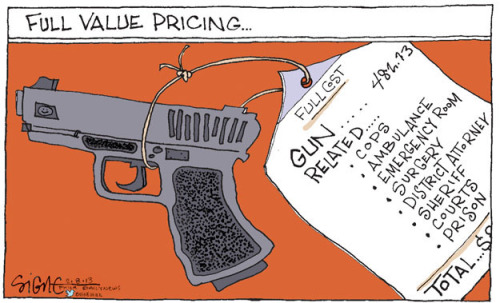 By Signe Wilkinson, the Cartoonist Group. More info about gun violence prevention proposals here.